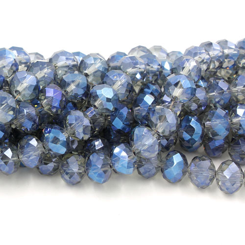 Chinese Crystal Long Rondelle Strand, 6x8mm, Magic Blue, about 72 beads