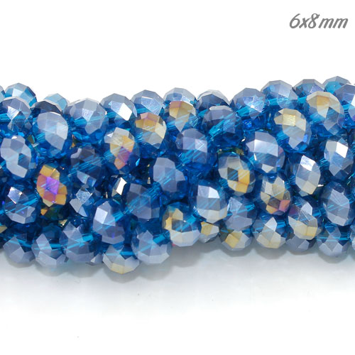 Chinese Crystal Long Rondelle Bead Strand, Blue Zircon AB, 6x8mm , about 72 beads