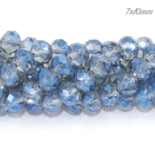 70Pcs 8x10mm Chinese Crystal Rondelle Strand, Magic Blue