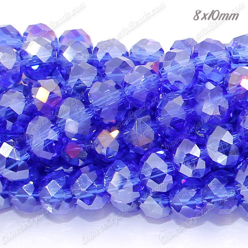 70Pcs Chinese Crystal Rondelle Beads 8x10mm, med Sapphire AB