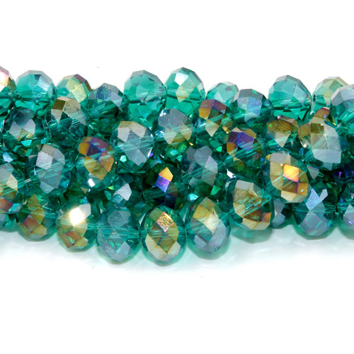 36 Pcs Chinese Crystal Rondelle Strand, 8x10mm, Emerald AB
