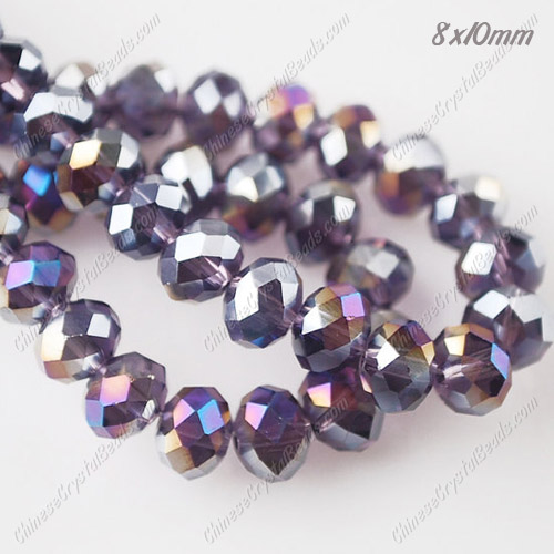 70Pcs 8x10mm Chinese Crystal Rondelle Beads Strand, Violet AB