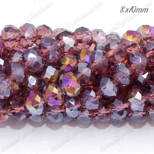 70 pieces 8x10mm Crystal Rondelle Bead, Amethyst AB