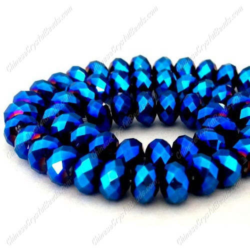 Chinese Crystal Rondelle Strand, Metallic Blue, 8x10mm ,25 beads