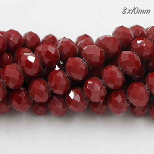 70 pieces 8x10mm Chinese Crystal Rondelle Strand, dark Red Velvet