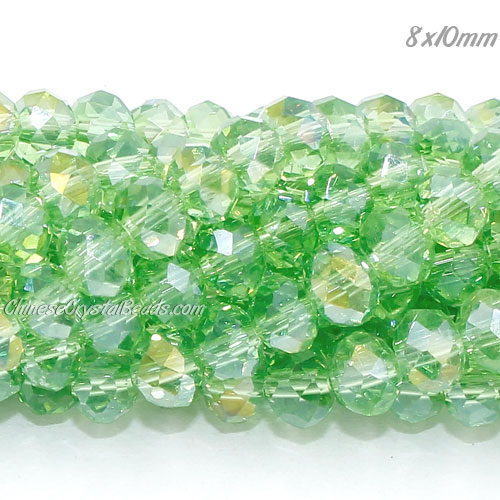 70 pieces 8x10mm Crystal Rondelle Bead, lime green AB