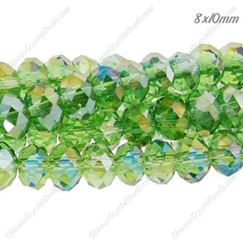 70Pcs 8x10mm Chinese Crystal Rondelle Beads Strand, Fern GreenAB