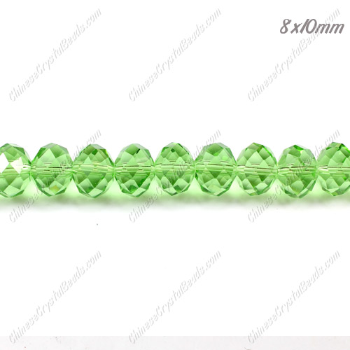 70Pcs 8x10mm Chinese Crystal Rondelle Beads Strand, Green