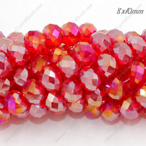 70 pieces 8x10mm Chinese Crystal Rondelle Strand, Light siam AB