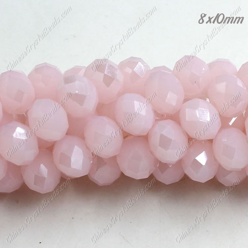 70 pieces 8x10mm 35Pcs Chinese Crystal Rondelle Strand, Pink jade AB
