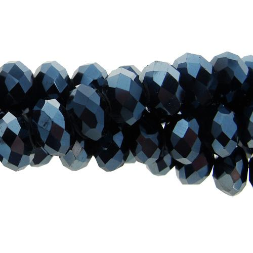 Chinese Crystal Rondelle Strand, 8x10mm, Gun Metal, 25 beads
