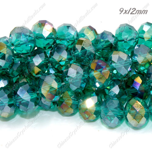 Chinese Crystal Rondelle Bead Strand, Emerald AB, 9x12mm ,about 36 beads