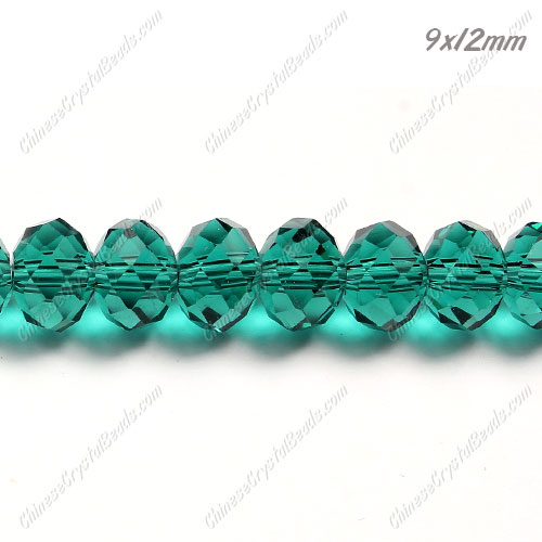 Chinese Crystal Rondelle Bead Strand, Emerald, 9x12mm, about 36 beads