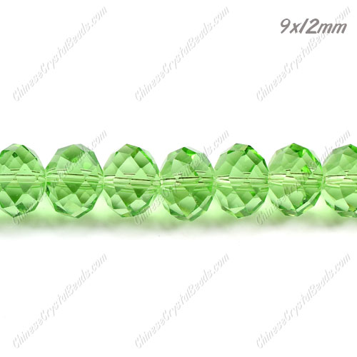 35Pcs 9x12mm Chinese Crystal Rondelle Bead Strand, lime green