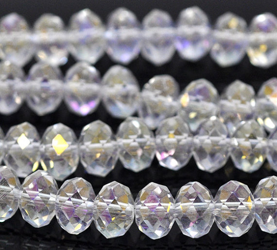 Chinese Crystal Rondelle Strand, Clear AB, 10x14mm, 20 Beads
