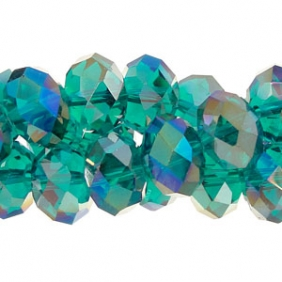 Chinese Crystal Rondelle Strand, Emerald AB, 10x14mm, 19 beads