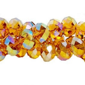 Chinese Crystal Rondelle Strand, Topaz AB, 9x12mm, about 36 beads