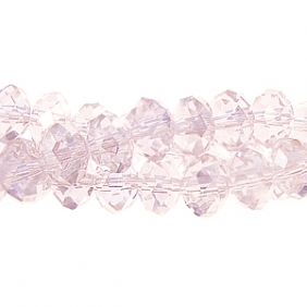 Chinese Crystal Rondelle Strand, Light Rose AB, 10x14mm, 20 beads