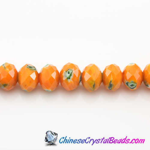 Millefiori Chinese Crystal Rondelle Bead Strand,orange Multi-Color,9x12mm,about 36 beads