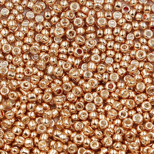 1.8mm AAA round seed beads 13/0, KC gold, approx. 30 gram bag