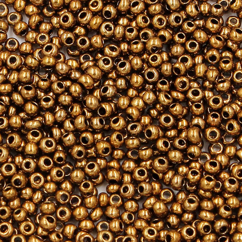 1.8mm AAA round seed beads 13/0, plated copper, #du3, approx. 30 gram bag