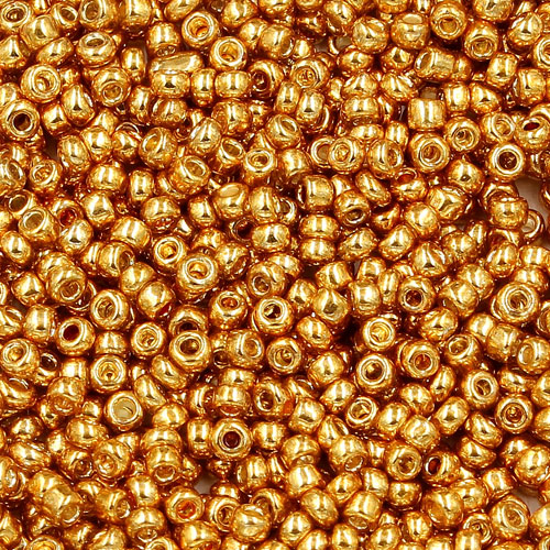 1.8mm AAA round seed beads 13/0, plated gold, #du4, approx. 30 gram bag