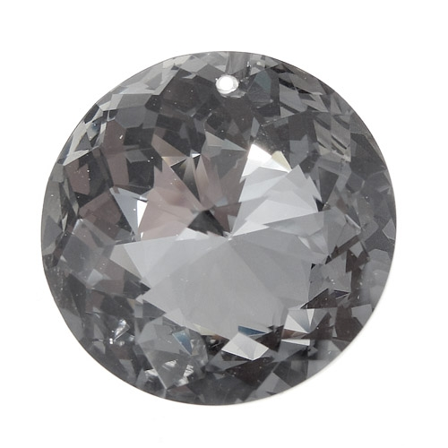 30mm Crystal round coin pendant, Black Diamond, hole: 1.5mm