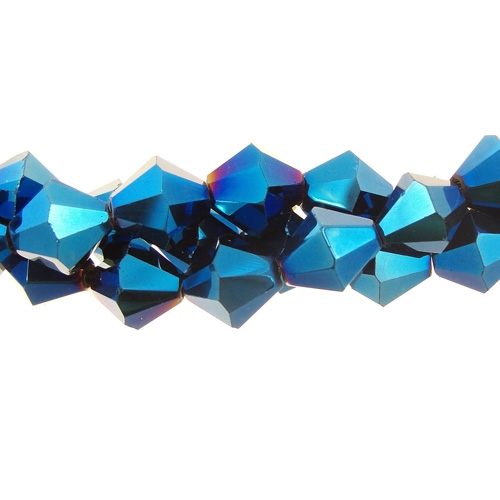 Chinese Crystal 8mm Bicone Long Bead Strand, Blue Light, 41beads