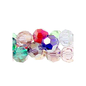 Chinese Crystal Round Strand, 8mm, Multi-Color, 25 beads