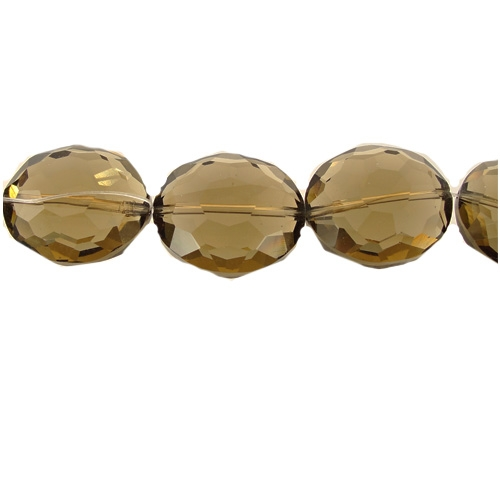 Chinese Crystal Puffed Oval Bead Strand, Smoky Quartz ,20x24mm, 1 beads