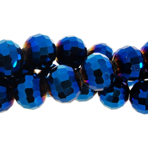 Chinese Crystal 12mm Round Long Bead Strand, Metallic Blue , 16 beads