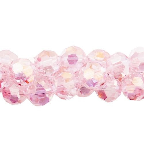 Chinese Crystal 6mm Round Bead Strand, Lt. Rose AB , about 50 beads