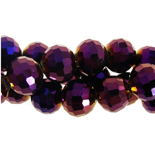 Chinese Crystal 12mm Round Long Bead Strand, purple light , 16 beads