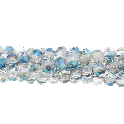 145Pcs Chinese Crystal 4mm Long Round Bead Strand, half blue light
