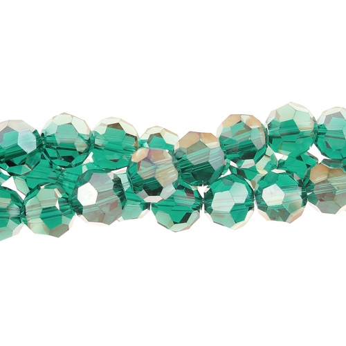 Chinese Crystal Round 6mm Long Bead Strand, Emerald AB , about 50 beads