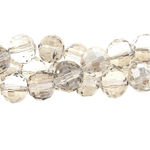 Chinese Crystal 12mm Round Bead Strand,silver shade, 16 beads