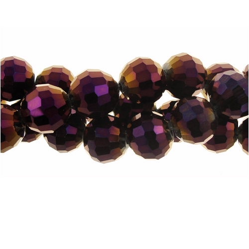 Chinese Crystal Round 8mm Long Bead Strand, Metallic Plum ,25 beads