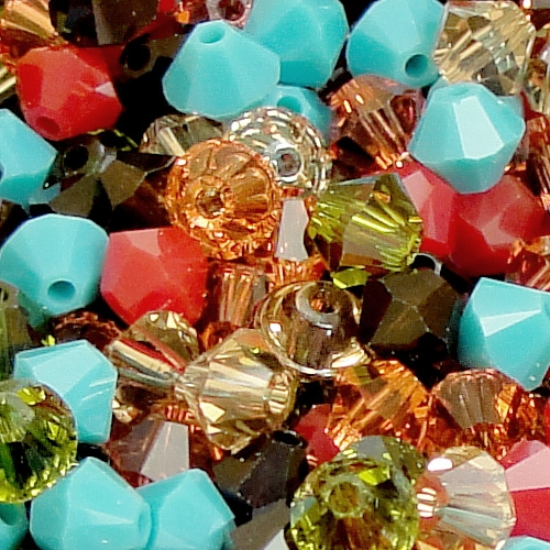 Chinese Crystal, 4mm Bicone, Bag of 45, Hippie Chic Mix