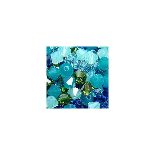 Chinese Crystal, 4mm Bicone, Bag of 48, Blue Lagoon