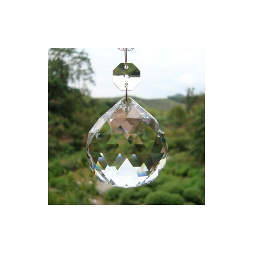 Crystal faceted ball pendants , 30mm, clear