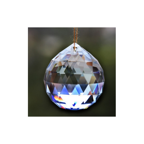 Crystal faceted ball pendants , 40mm, Clear