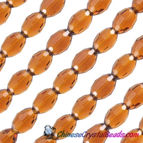 Chinese Crystal Faceted Barrel Strand, Smoke Topaz, 10x13mm, 20 beads