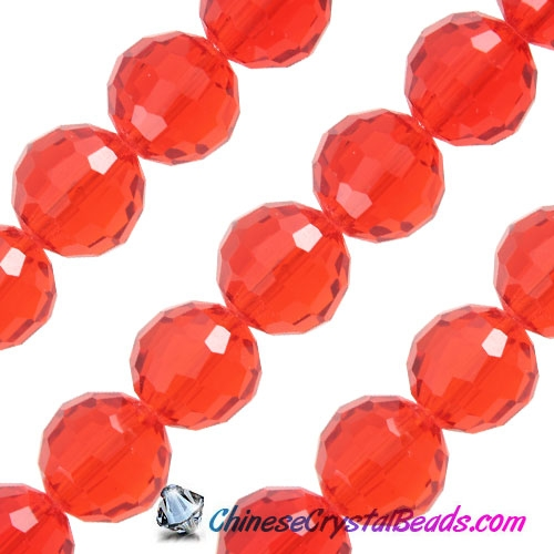 Crystal Disco Round Beads, Lt. Siam, 96fa, 12mm, 16 beads