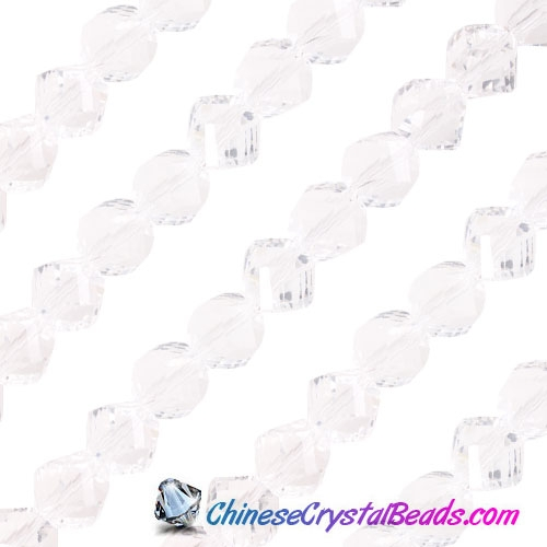Chinese Crystal 10mm Helix Bead Strand, Clear , 20 beads
