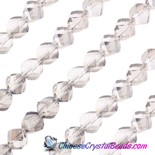 Chinese Crystal 10mm Helix Bead Strand, Silver shade, 20 beads
