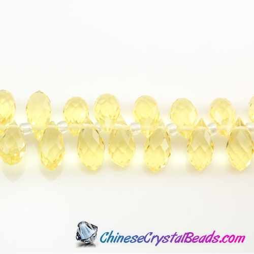 Chinese Crystal Teardrop Beads,citrine, 6x12mm, 20 beads
