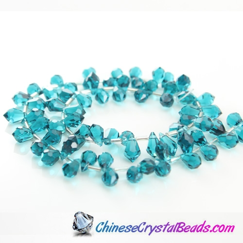 Chinese Crystal Teardrop Beads, indicolite, 6x10mm, 20 beads