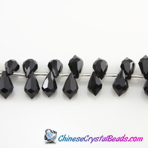 Chinese Crystal Teardrop Beads, Jet, 6x10mm, 20 beads