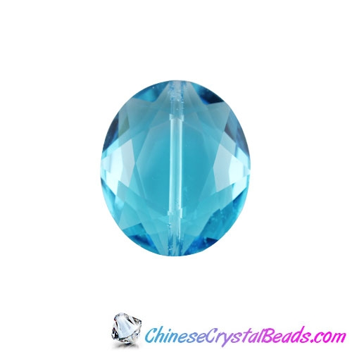 Chinese Crystal Faceted Oval pendant, aqua, 20x24mm, 1 beads
