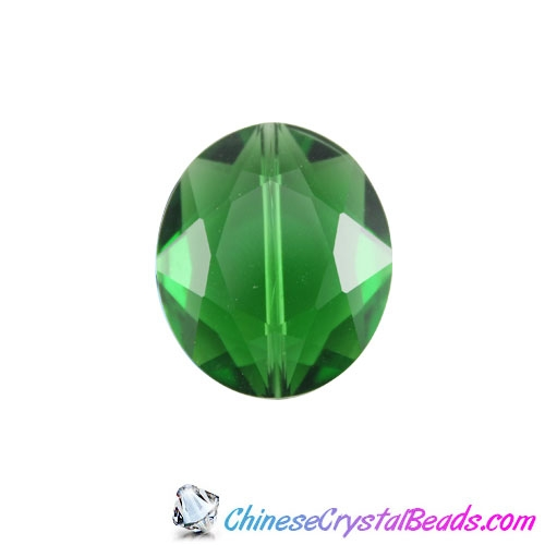 Chinese Crystal Faceted Oval pendant, green ,20x24mm, 1 beads